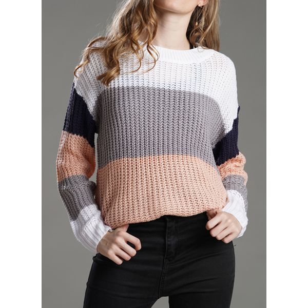Round Neckline Color Block Loose Regular Shift Sweaters (1675421035, Blue;pink;brown