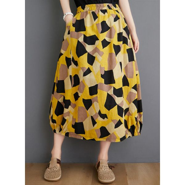 Color Block Mid-Calf Casual Pattern Pockets Skirts (1725597572)
