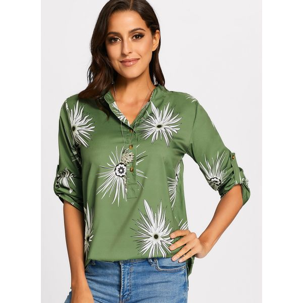 Floral Casual Round Neckline Long Sleeve Blouses (01645376090) 1