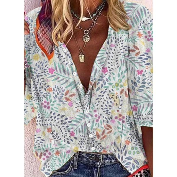 Plus Size Floral Casual V-Neckline 3/4 Sleeves Blouses (30355578248)