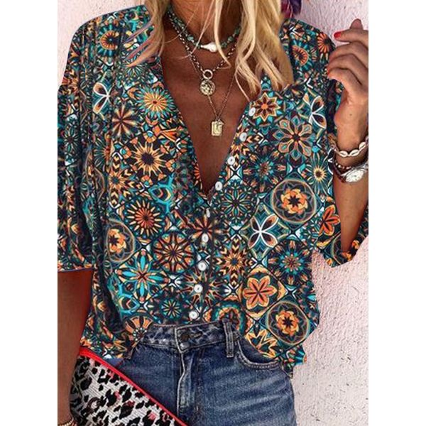 Floral Casual Collar Half Sleeve Blouses (1645563470)