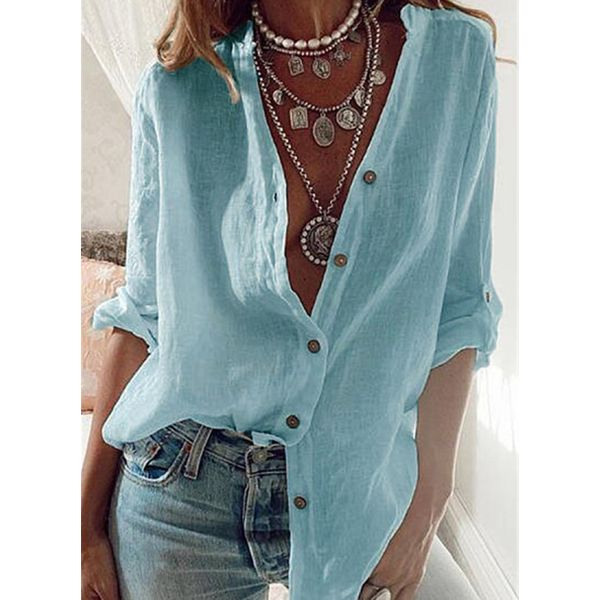 Solid Casual V-Neckline Long Sleeve Blouses (1645599699)
