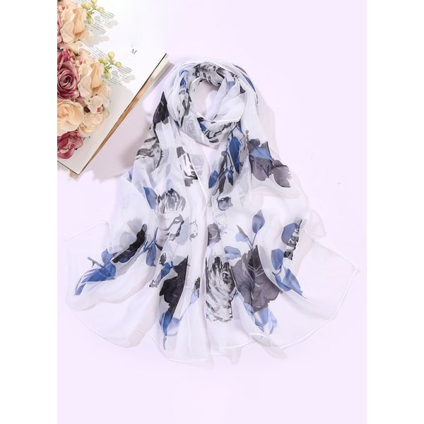 Casual Floral Scarves (1775408214, White