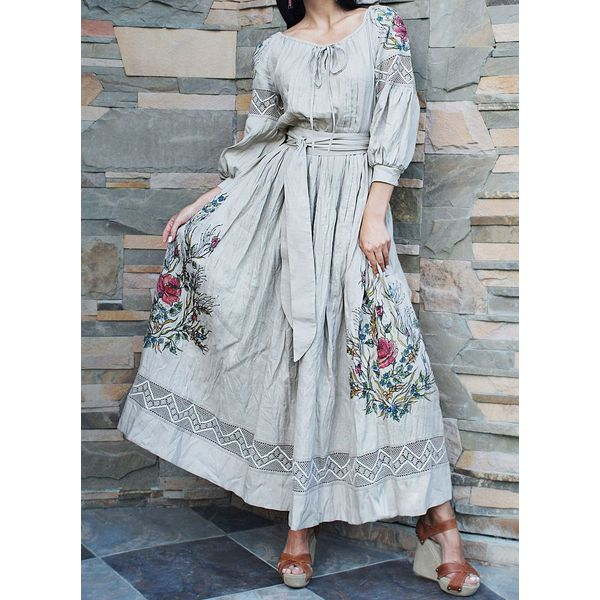 Floral Wrap 3/4 Sleeves Maxi X-line Dress (1955403278, Light gray