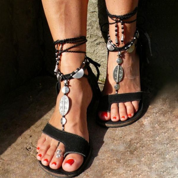 Women's Lace-up Toe Ring Flat Heel Sandals (1625569201)