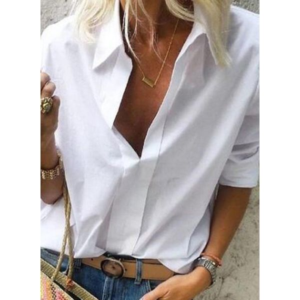 Solid Casual Collar Long Sleeve Blouses (1645509439)