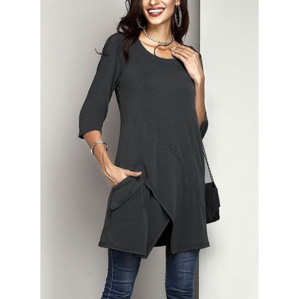 Solid Casual Round Neckline 3/4 Sleeves Blouses (1645381749) 2