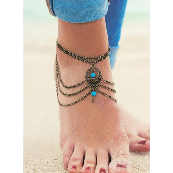 Casual No Stone Ball Round Anklet (1905563090)