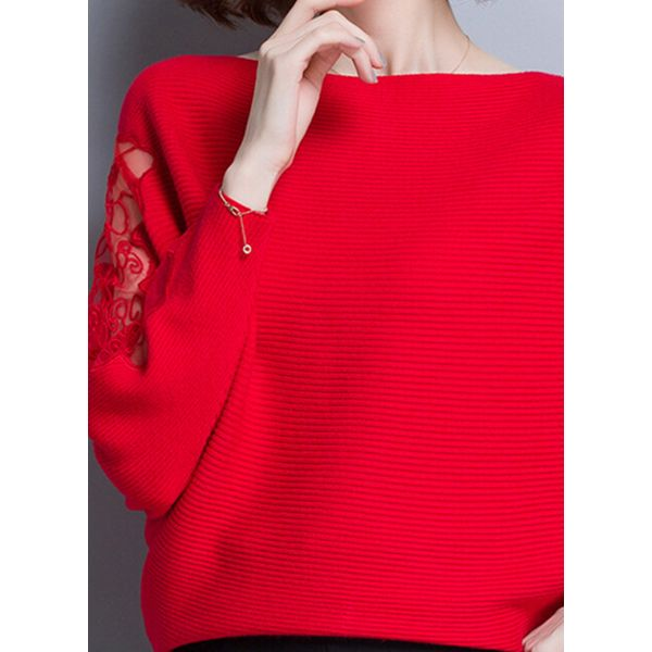 Round Neckline Solid Loose Regular Shift Sweaters (1675380824) 9