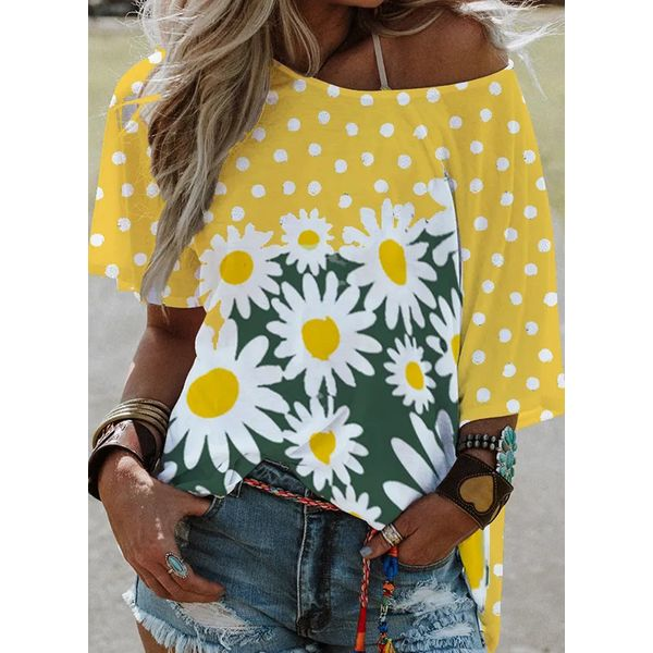 Floral Round Neck Short Sleeve Casual T-shirts (1685598430)