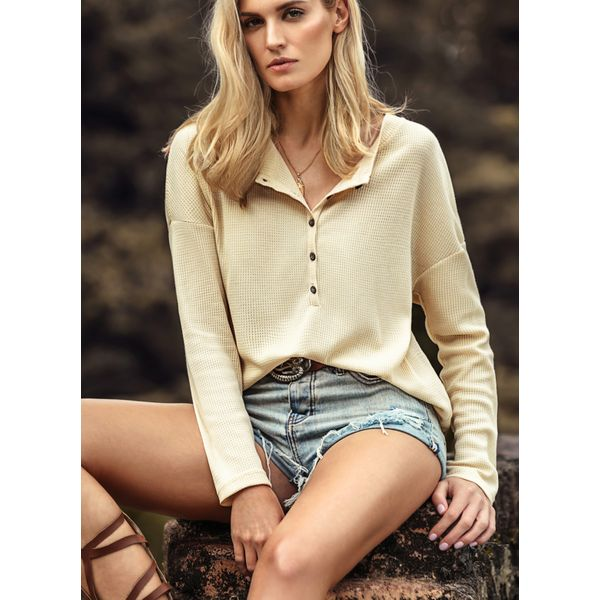 Solid Elegant Stand Collar Long Sleeve Blouses (01645374621) 3