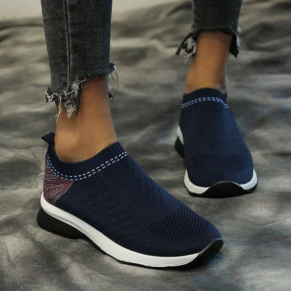 Women's Hollow-out Closed Toe Fabric Wedge Heel Sneakers (1625592134)