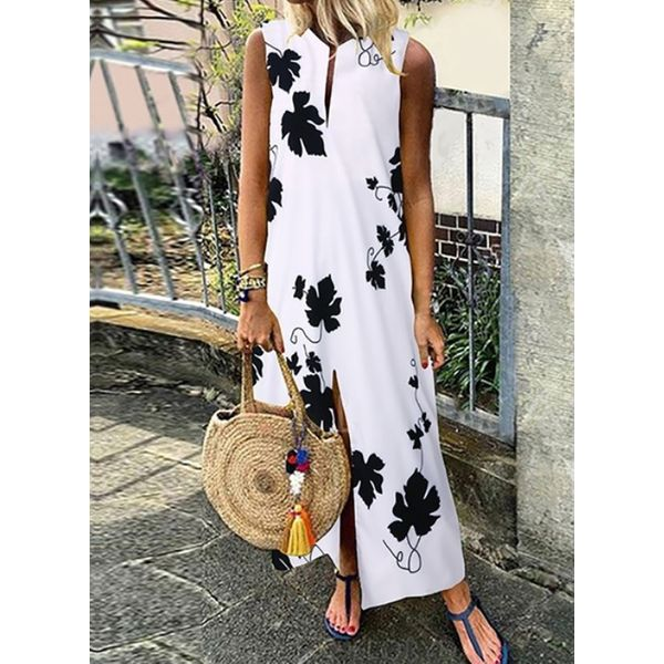 Casual Floral Tunic Round Neckline A-line Dress (1955597071)