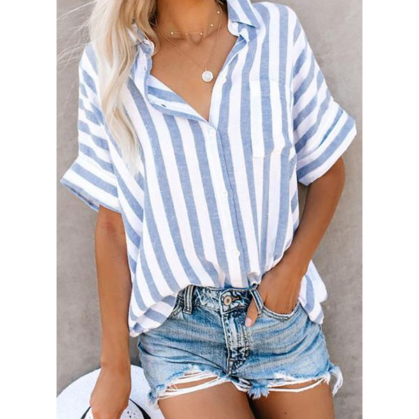 Stripe Casual Collar Half Sleeve Blouses (1645397139, Blue