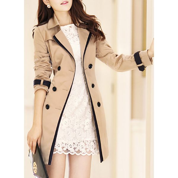 Long Sleeve Lapel Buttons Trench Coats Coats (1715378779) 9