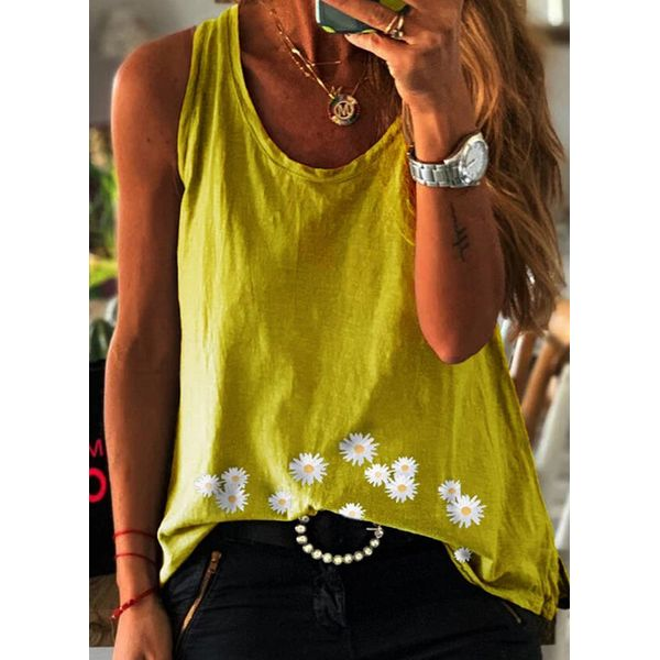 Floral Round Neck Sleeveless Casual T-shirts (1685597578)