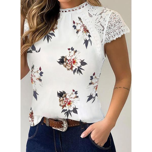 Floral Round Neck Short Sleeve Casual T-shirts (1685596330)