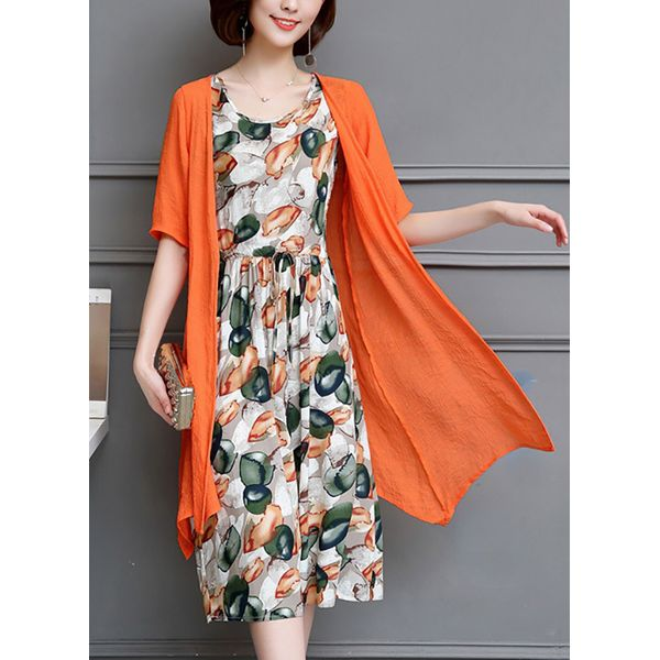 Color Block Wrap Half Sleeve Midi X-line Dress (1955381934) 1