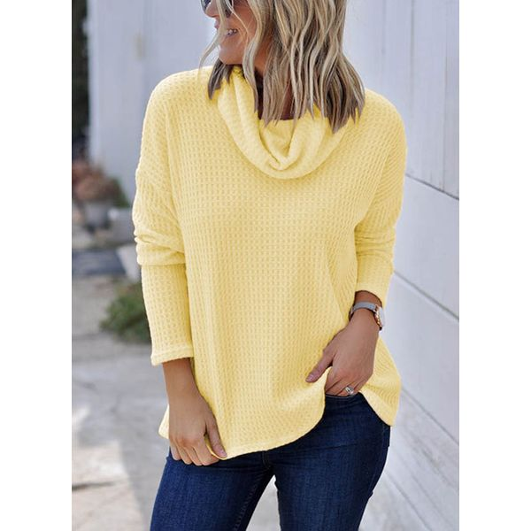 Draped Neckline Solid Loose Regular Shift Sweaters (1675364023) 3