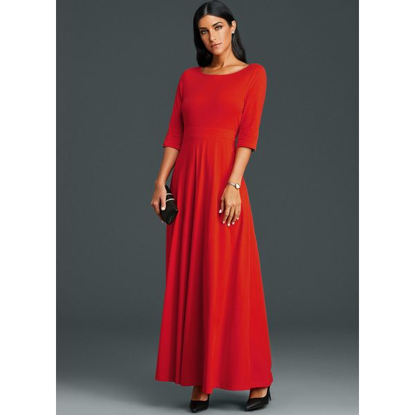Solid 3/4 Sleeves Maxi A-line Dress (01955379419) 6