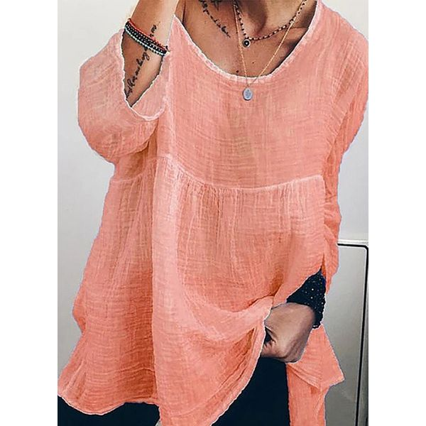 Solid Casual Round Neckline 3/4 Sleeves Blouses (1645591163)