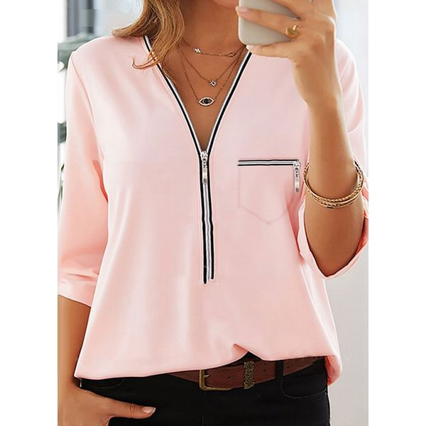 Solid Casual V-Neckline 3/4 Sleeves Blouses (1645596454)