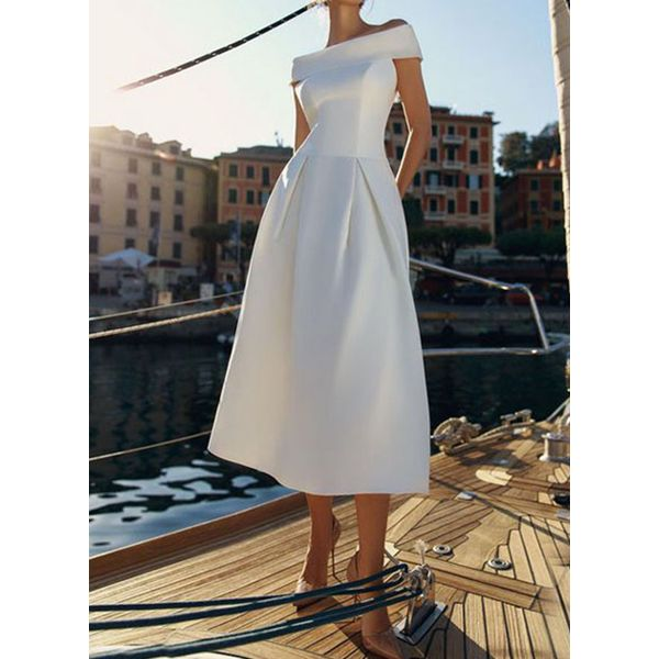 Casual Solid Off the Shoulder Cap Sleeve X-line Dress (1955557409)