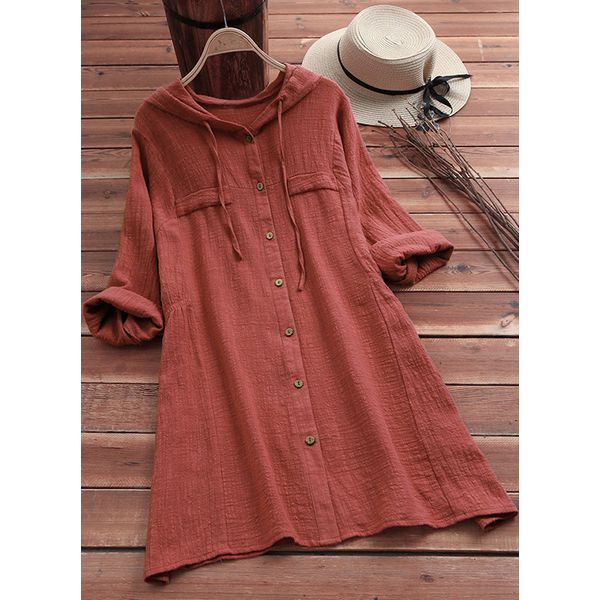 Solid Casual Others Long Sleeve Blouses (1645366029) 5