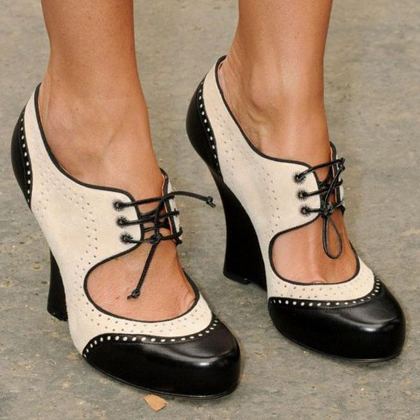 Women's Lace-up Round Toe Wedge Heel Pumps (1625587066)
