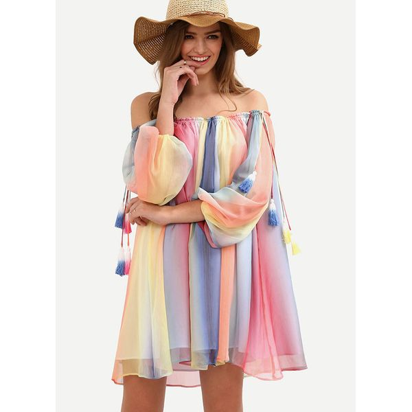 Off the Shoulder Color Block Cover-Ups Swimwear (30015377185) 1