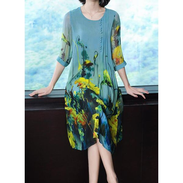 Casual Floral Tunic Round Neckline Shift Dress (1955550472)