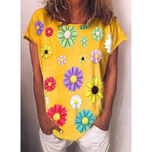 Floral Round Neck Short Sleeve Casual T-shirts (1685583194)