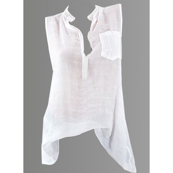 Solid Casual Stand Collar Sleeveless Blouses (1645281260) 4