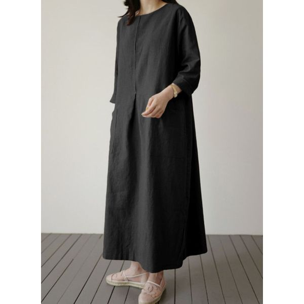 Tunic Solid Round Neckline Casual Pockets Plus Dress (30345593819)