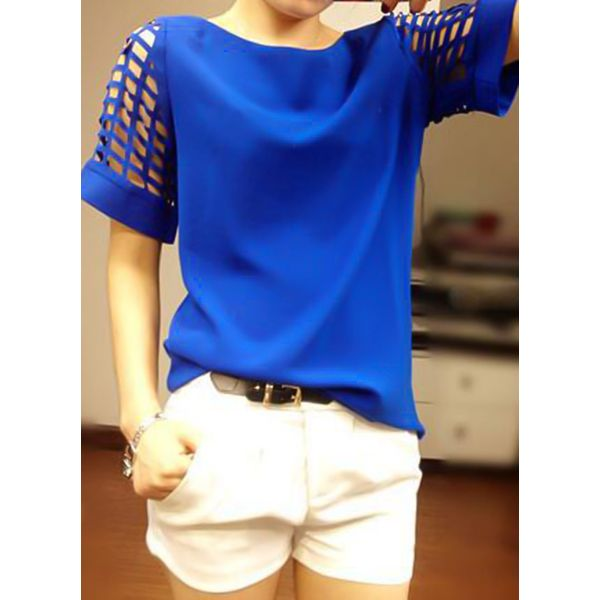 Solid Casual Round Neckline Short Sleeve Blouses (1645378110) 3