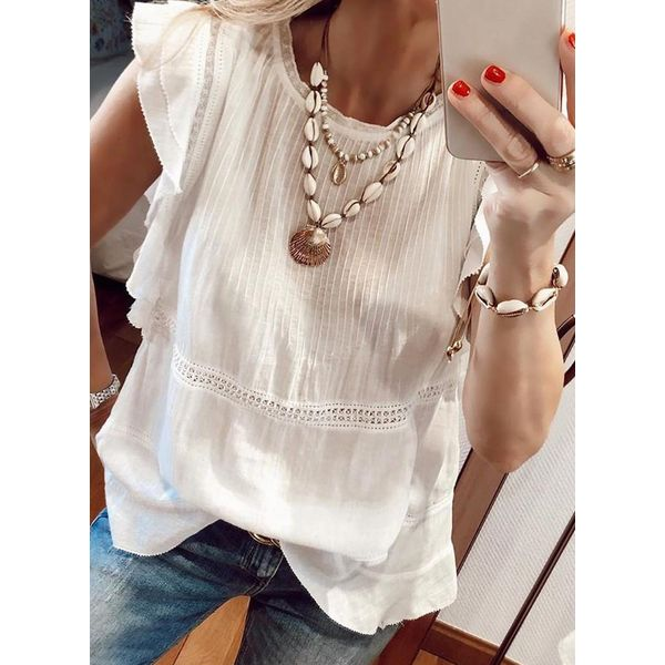 Solid Casual Round Neckline Cap Sleeve Blouses (1645599068)