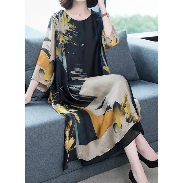 Casual Floral Tunic Round Neckline Shift Dress (1955496065)