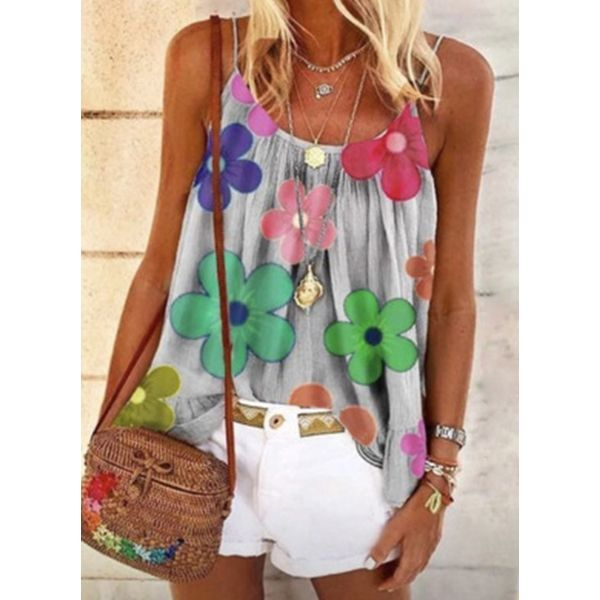 Floral Casual Camisole Neckline Sleeveless Blouses (1645568265)