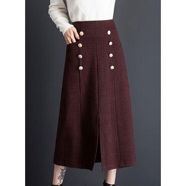 Color Block Mid-Calf Elegant Buttons Skirts (1725377604) 1