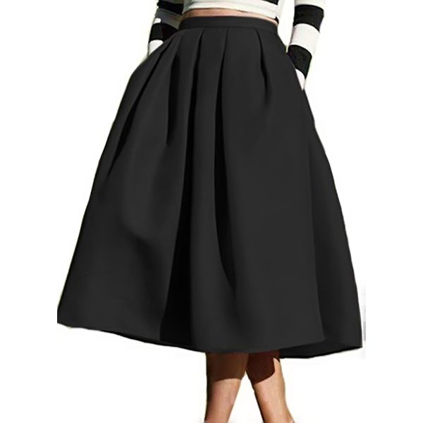 Solid Mid-Calf Casual Skirts (1725377588) 9