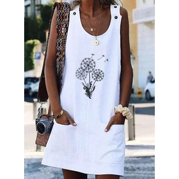 Casual Floral Tunic Round Neckline A-line Dress (1955592723)