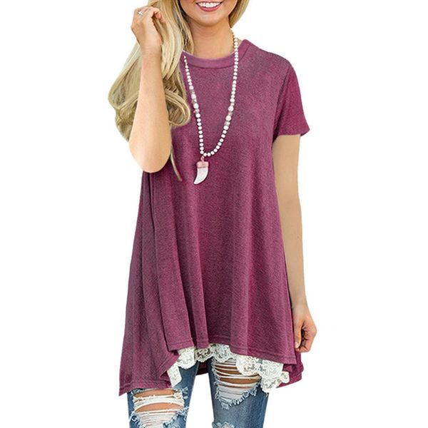 Color Block Casual Round Neckline Short Sleeve Blouses (1645395245, Black;blue;green;light gray;red;dark gray;coffee