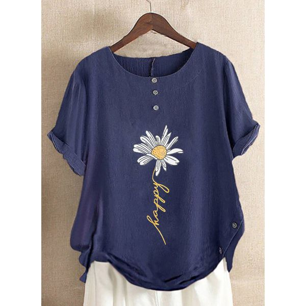 Floral Casual Round Neckline Short Sleeve Blouses (1645571441)
