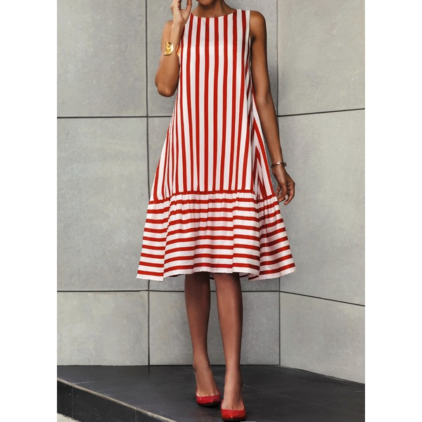 Stripe Ruffles Drop waist Knee-Length A-line Dress (01955305305) 6