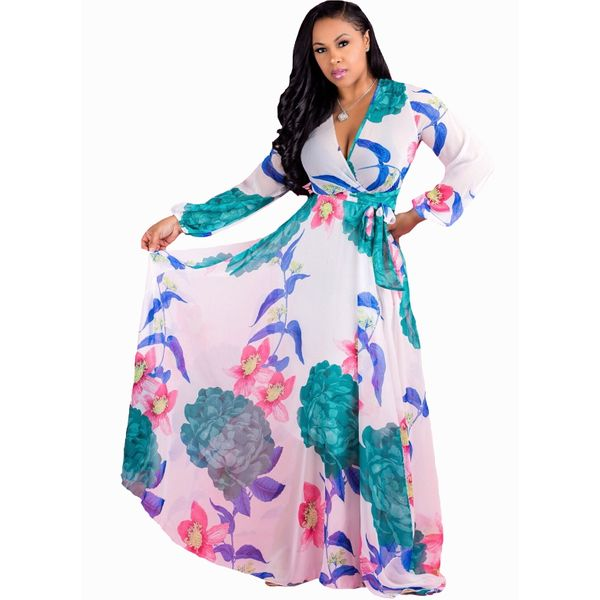 Plus Size Floral Wrap Long Sleeve Maxi X-line Dress (1955377404) 2