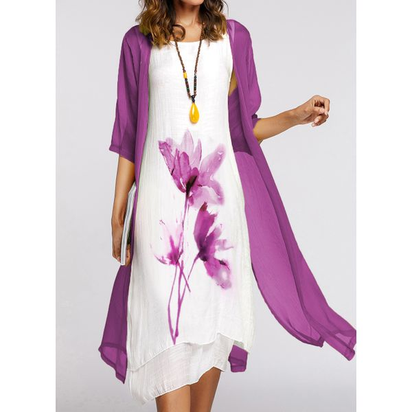 Chinese Style Floral Wrap Round Neckline A-line Dress (1955419115)