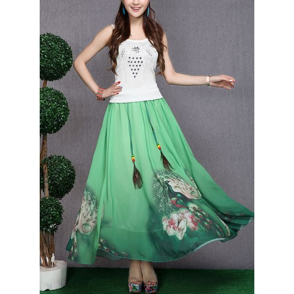 Floral Maxi Casual Skirts (1725377273) 12