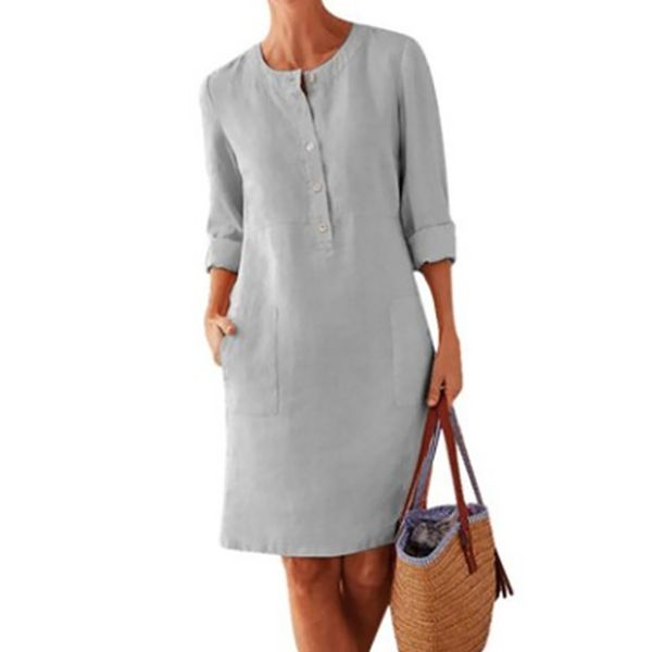 Plus Size Casual Solid Round Neckline Above Knee Shift Dress (30345559175)