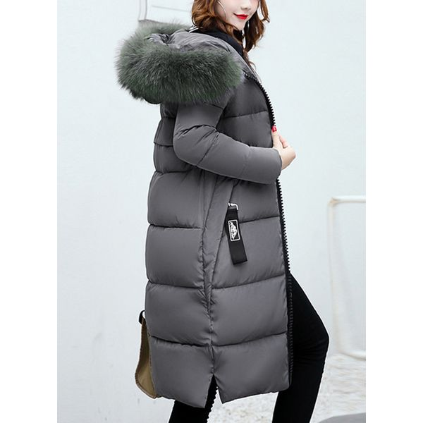 Long Sleeve Hooded Zipper Unremovable Fur Collar Padded Coats (1715356626) 6