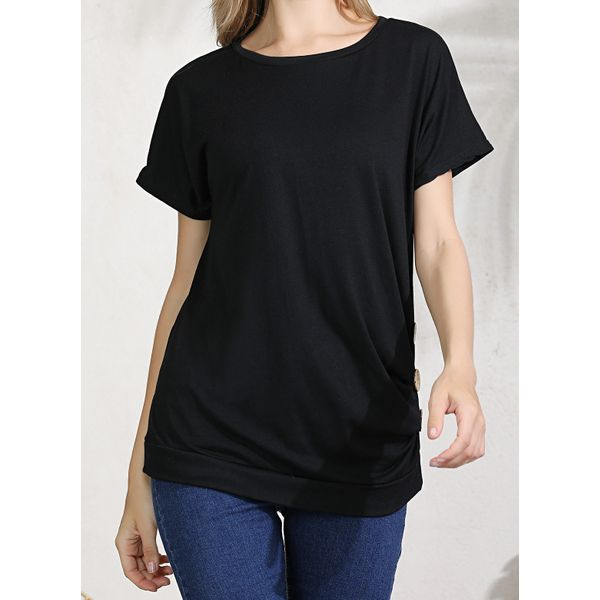 Plus Size Solid Casual Round Neckline Short Sleeve Blouses (1645420286, Black;blue;rose;military green